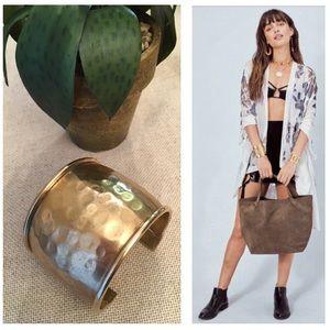 VTG Wide Hammered Brass Cuff Boho Chic Bracelet